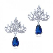 GORGEOUS 18K WHITE GOLD PLATED SAPPHIRE/CLEAR CUBIC ZIRCONIA DANGLE EARRINGS