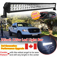 "22inch 120W LED WORK LIGHT BAR FLOOD SPOT OFFROAD 4WD POLARIS SUV ATV TRUCK 20"""