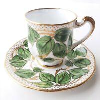 Vintage Tea Cup & Saucer Royal Standard Green Leaf Gold Made In England