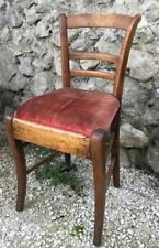 Antique Hand Made French Country Chair Ladder Back Desk Vanity Wood Boudoir