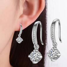 Women Lady Elegant 925 Sterling Silver Zircon Dangle Earrings Girlfriend Gifts
