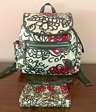 COACH POPPY DAISY FLORAL GRAFFITI NYLON BACKPACK AND MATCHING WRISTLET