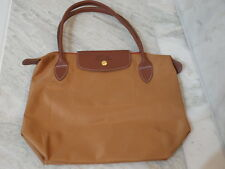 Longchamps shopping hand bag with leather straps & emblem zipper tan colour