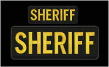 Sheriff embroidery patches 4x10 and 2x5 hook on back gold letters