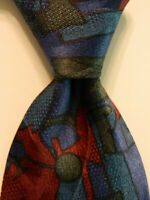 SERGIO MARCELLO Men's 100% Silk Necktie USA Designer Geometric Blue/Red EUC Rare