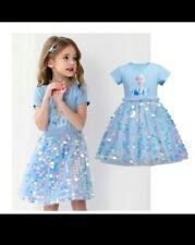 Bellissimo abito Elsa Frozen Disney bambina 2-8 anni tutu vestiti principessa