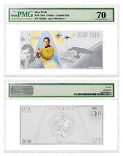 2018 Niue Star Trek Captain Kirk Foil Note 5 g Silver $1 PMG Gem Unc 70 SKU52374