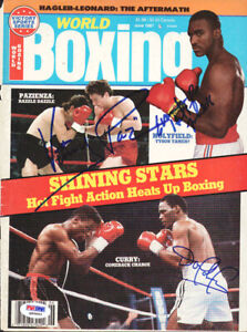 Holyfield Pazienza & Curry Authentic Autographed Magazine Cover PSA Q95663
