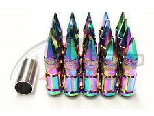 Z RACING NEO CHROME SPIKE EXTENDED STEEL LUG NUTS OPEN SET 20 PCS KEY 12X1.5MM