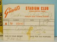 1963 San Francisco Giants Stadium Club Receipt Fairmont Hotel Catering