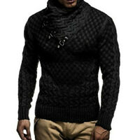 Men's Knitted Turtleneck Comfortable Sweater Casual Thermal Long Sleeve Pullover