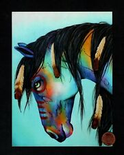 Horse Pony Feathers In Maine Colorful - Large - Blank Note Greeting Card - New