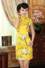 Yellow Chinese Style embroider women's silk/satin Dress/Cheong-sam sz:6-14