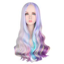 """28"""" Multi Color Women's Lolita Rainbow Long Curly Wavy Hair Cosplay Party Wigs"""