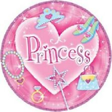 "8 Princess Birthday Party Plates 9"" Dinner Size Metallic Round Pink Lavender"