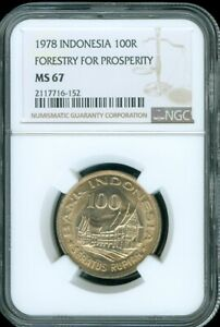 """1978 INDONESIA 100 RUPIAH """"FORESTRY FOR PROSPERITY"""" NGC MS67 UNC FINEST KNOWN"""