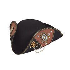Mens Steampunk Tricorn Hat Fancy Dress Pirate Accessory