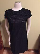 Suzi Chin Black Lace Gray Underlay Shift Dress 12 Excellent