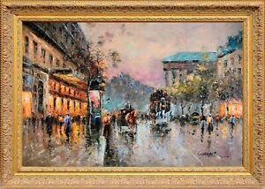 Framed Oil Painting Paris Sunset Scene Cityscape Landscape by Сristof Vevers