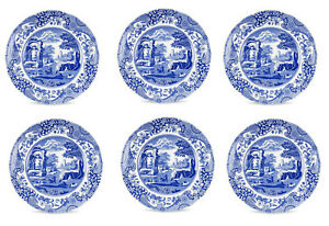 """SPODE BLUE ITALIAN SALAD PLATES SET OF 6 made in ENGLAND  7.5"""" New with Tag"""