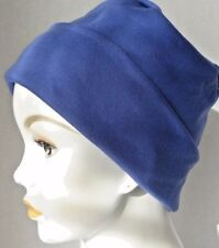 Cozy Blue Rolled Cuffed Chemo Cancer Hair Loss Hat Turban Sleep Cap Cool Weather