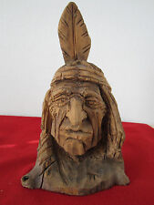 WOODEN, HAND CARVED WILD WEST BUST OF NATIVE TRIBESMAN