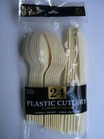 24 Piezas Crema/Marfil Cubiertos Plástico Juego { 0C CT }