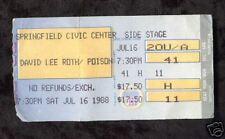 David Lee Roth 7/16/88 Concert Ticket stub Springfield