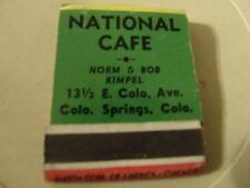 Vtg National Cafe Colorado Springs COLO Minnesota Lake Norm Bob Kimpel matchbook