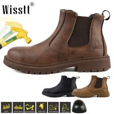 Men's Steel Toe Safety Labor Shoes Pull On Work Boots Lightweight Indestructible