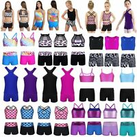 Girls 2-Piece Set Dance Outfit Jazz Gym Sport Crop Top+Shorts Dancewear Swimsuit