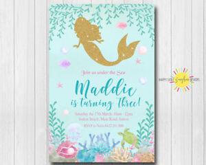 Custom Printable Girls Birthday Any Age Under the Sea Mermaid Gold Glitter
