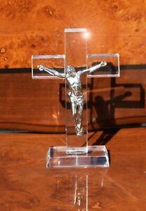 Crystal Cut Crucifix Jesus Christ Statue Cross Figurine Miniature  Gift Ornament