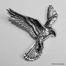 Hovering Kestrel Pewter Brooch Pin- British Artisan Signed Badge Falconry Kes
