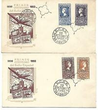España. Dos sobres con 4 sellos serie corta del Centenario del sello