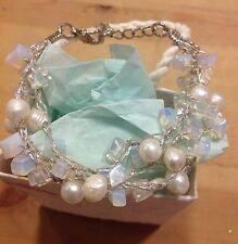Gemstone Bracelet Triple Stranded Freshwater Pearl Moonstone Silk Thread White
