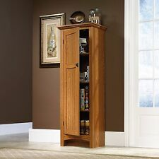 Pantry Cabinet Storage Shelves Kitchen Linen Oak Organizer Tall Utility  Cupboard