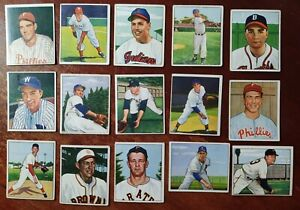 Lot of (15) 1950 Bowman Baseball Cards / Authentic and Original