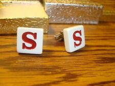 """"""" S """" Monogram Letter Initial SILVER Plated Cufflinks 1 Pair (Two)  Red/White"""