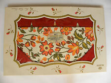 Vintage 1960's Flannel Back Retro Fall Floral Vinyl Tablecloth & Napkins ~Mib~
