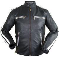 Herren Motorrad Lederjacke Biker Retro Streifen Rockerjacke Chopper Gesteppt