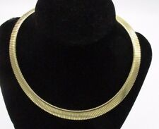 80s Vintage Jewelry Park Lane Signed Gold Tone Flex Chain Collar Choker Necklace