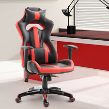 High Back Gaming Chair Racing Style Seat Swivel Recliner PU Leather Red