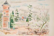 Lithographie aquarellée v 1950 M Vertès ? Le Potager du château au Printemps