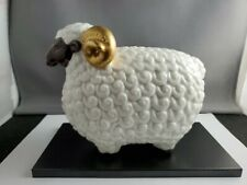 Quality Porcelain Male Sheep Signed Ar includes stand