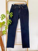 Lovely JEANSWEST 72 dark blue curve embrace slim straight denim jeans size 11