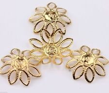 50/100Pcs Gold Silver Filigree Hollow Flower Bead Cap Jewelry Findings DIY 20MM