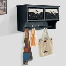 Hat Coat Scarf Cabinet Wall Mountable Hallway Basket Shelf Hooks Black Unit NEW