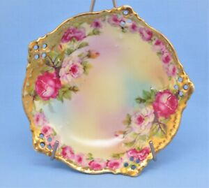 SIGNED ROYAL VIENNA ANTIQUE SMALL RETICULATED PLATE FLORAL GOLD
