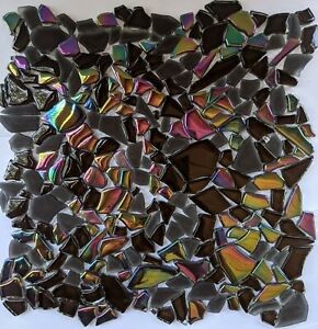 Brown Iridescent Jagged Glass Mosaic Tile For Wall and Shower Floor
